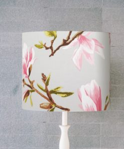 abażur szary w różowe kwiaty na lampę stołową
