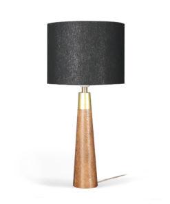 lampa drewniana, czarny abażur