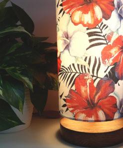 lampka nocna biurkowa z abażurem w kwiaty