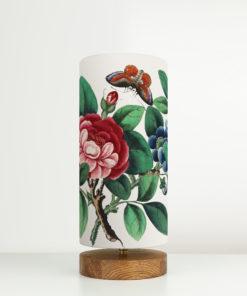 lampa drewniana recznie robiona z abazurem w kwiaty