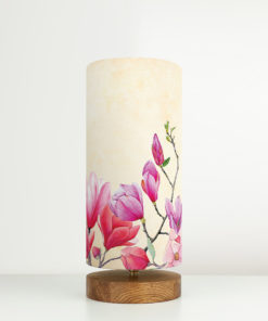 Lampa nastrojowa z abażurem we wzór kwiatów magnolii