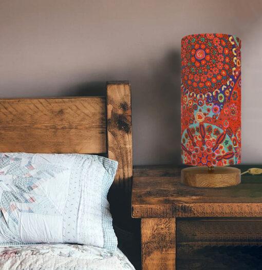 lampa stołowa z abażurem czerwonym