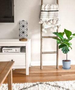 Lampa stołowa drewniana z abażurem we wzór japoński