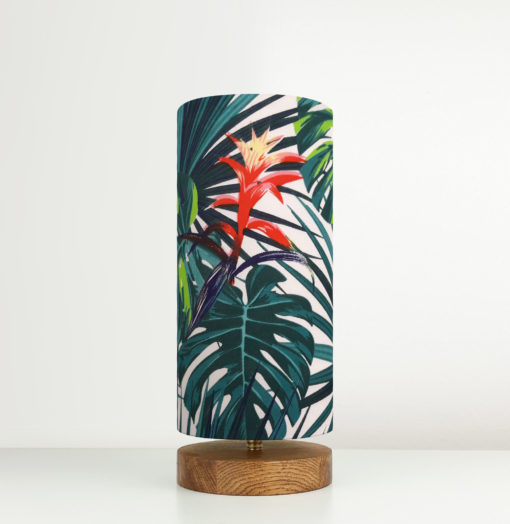 Lampa stołowa drewniana z abażurem we wzór tropikalnym we wzór japoński
