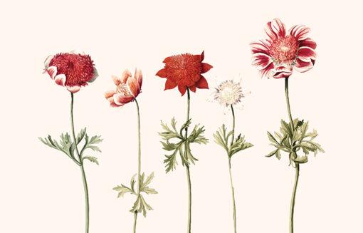 lampa do sypialni stojąca we wzór delikatnych kwiatów