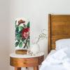 lampa stojaca vintage z abażurem w kwiaty