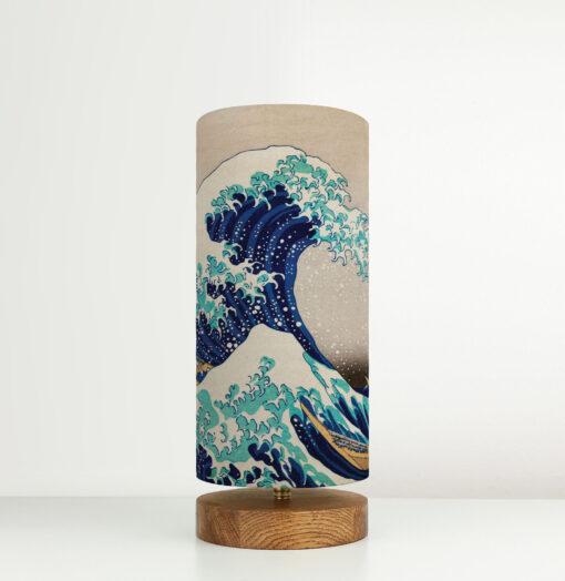 lampa vintage stojąca z abażurem we wzór japoński