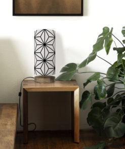 Oryginalna lampa stojąca z abażurem w geometryczny wzór japoński