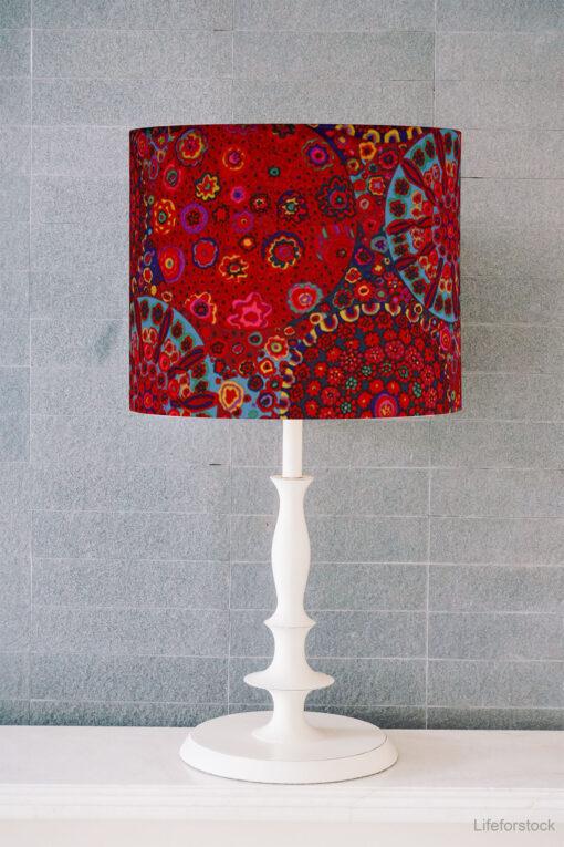 abażur czerwony do lampy stołowej