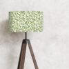 abażur na lampę stojącą biały w zielone liście 35 cm w kształcie cylindra