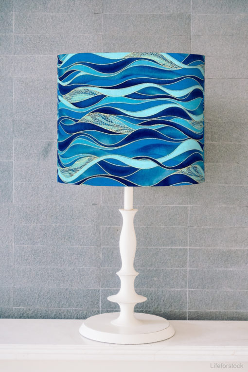 abażur niebieski do lampy walec