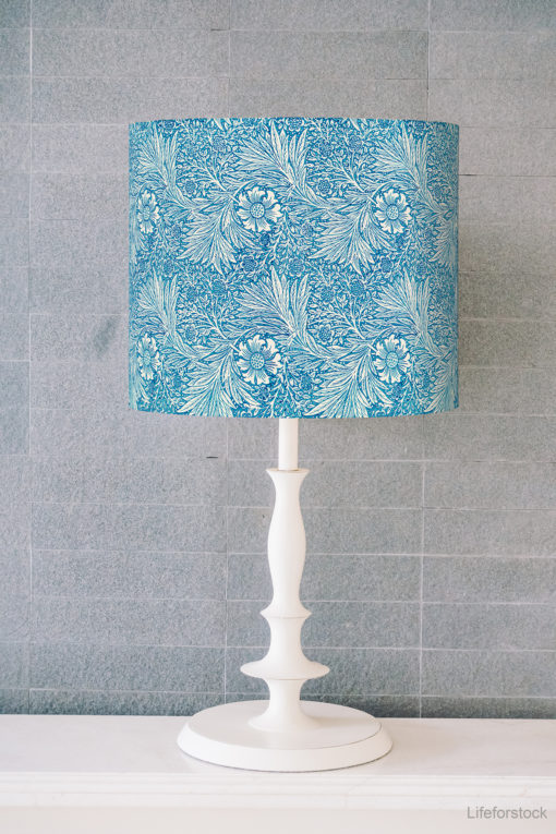 abażur niebieski do lampy stołowej cylinder e27/e14