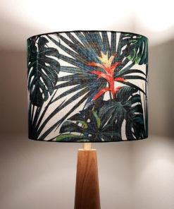abażur do lampy stołowej biały w tropikalne liście