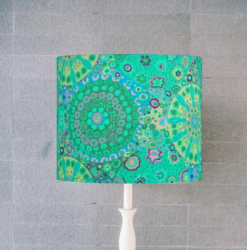 abażur zielono turkusowy w kształcie cylindra 25 cm e27 e14