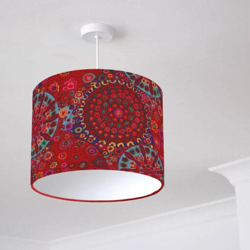 abażur czerwony z materiału do lampy cylinder