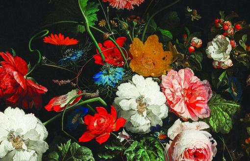 Abażur czarny w malowane kwiaty do lampy wiszącej