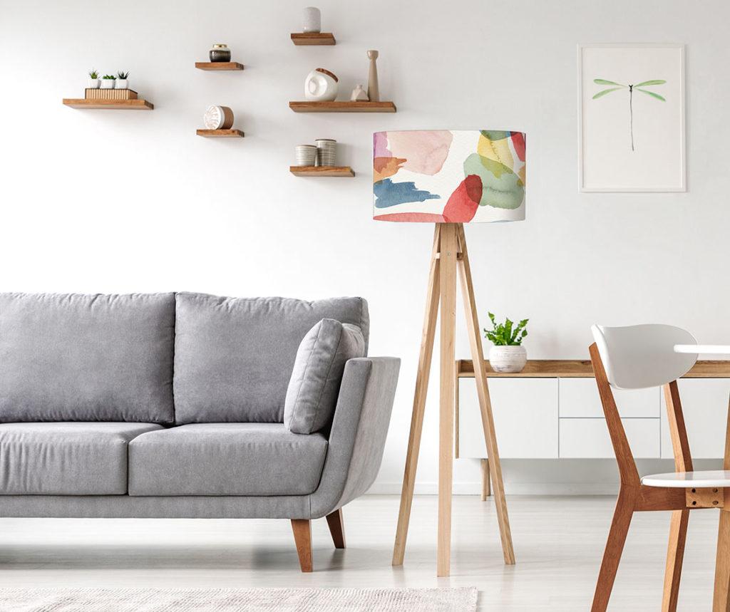 abażur na lampę podłogową z materiału kolorowy dekoracyjny