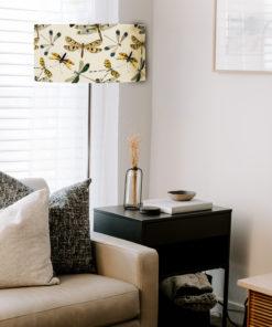 abazur na lampę podłogową z materiału bezowy cylindryczny