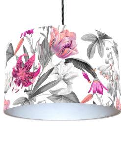 abażur do lampy wiszącej biały w kwiaty