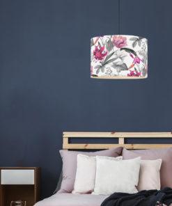 abażur do lampy sufitowej biały w kwiaty 35 cm