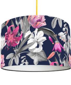 abażur do lampy wiszącej granatowy w kwiaty