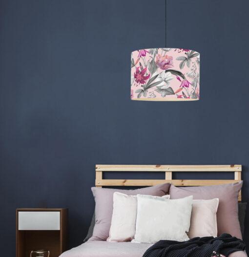 abażur różowy do lampy wiszacej
