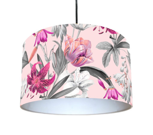 abażur do lampy wiszącej różowy w kwiaty