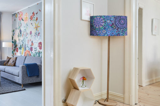 abazur do lampy stojącej niebieski cylinder 35 cm