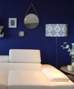 abażur do lampy podłogowej niebiesko-biały