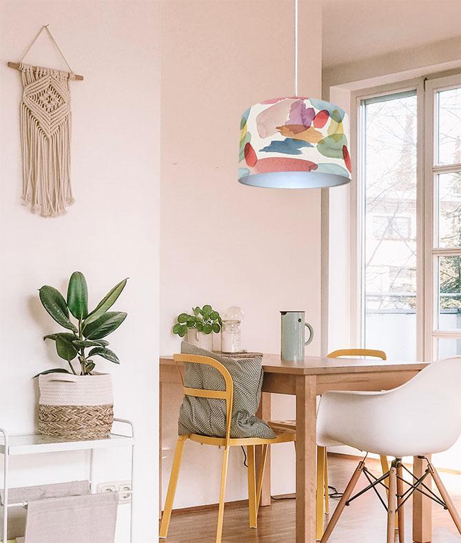 abażur z materiału na lampę sufitową kolorowy