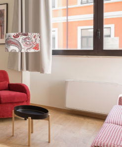 abazur na lampę podłogową cylindryczny szaro-czerwony