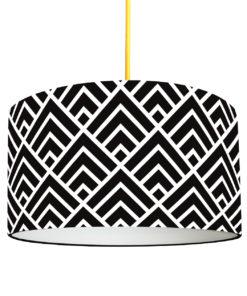 abażur czarno-biały z materiału do lampy wiszącej, stojącej i stołowej