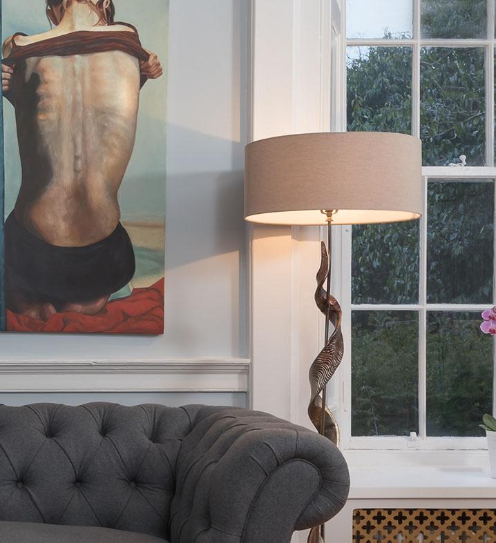 abażur na lampę lniany jasny bez