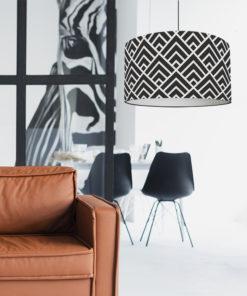 abażur czarno-biały cylinder z materiału do lampy wiszącej, stojącej i stołowej