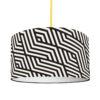 abażur czarno-biały z materiału do lampy wiszącej, stołowej, podłogowej