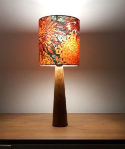 lampa stołowa nocna biurkowa z abażurem w kwiaty