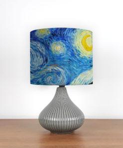 lampka ceramiczna nocna z niebieskim abażurem