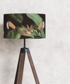 abażur czarny do lampy motyw tropikalny