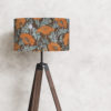 abażur art deco maki na brązowym tle walec
