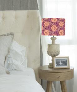 abażur różowy art deco do lampy stołowej cylinder motyle