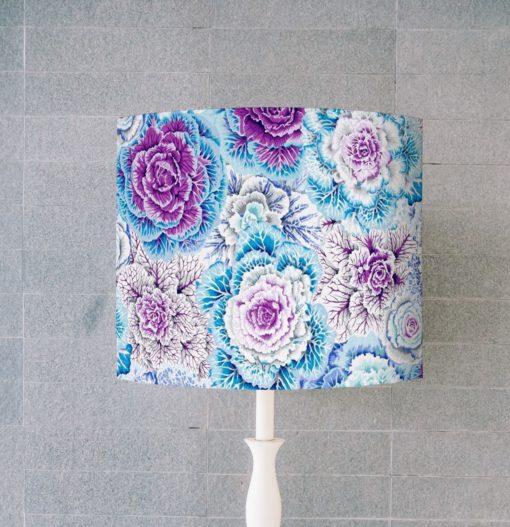 abażur niebieski do lampy stołowej w kształcie walca