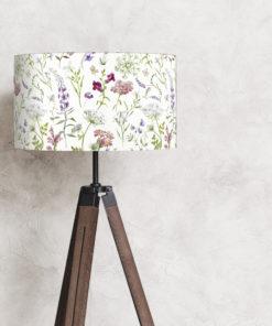 abażur na lampę stojącą biały w kwiaty