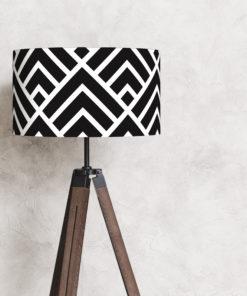 abażur czarno-biały w kształcie walca na lampę stojącą pokryty bawełną