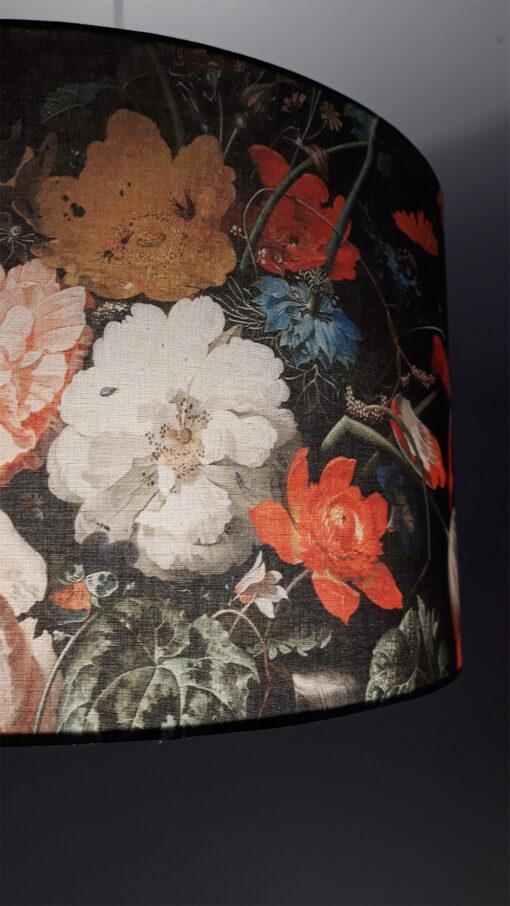 abażur czarny w kwiaty do zwisu