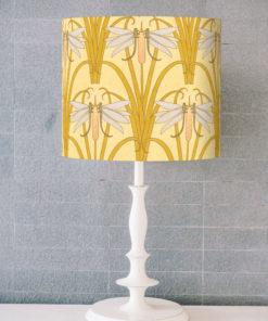 abażur żółty art deco do lampy stołowej cylinder ważki