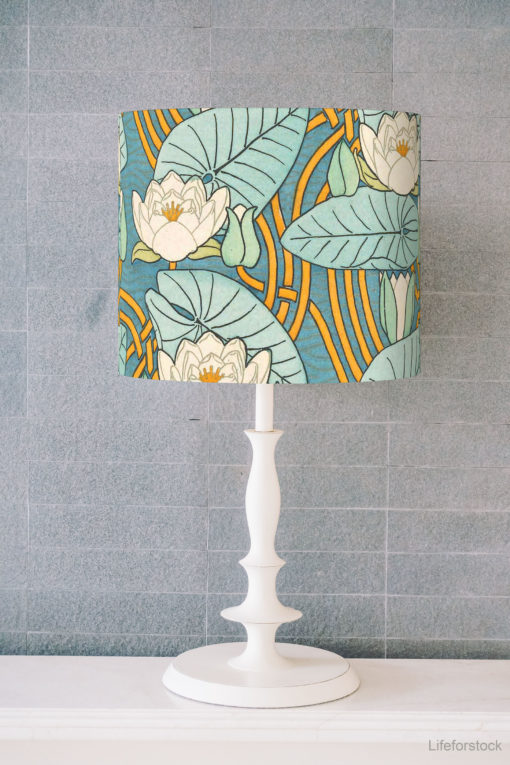abażur art deco do lampy stołowej cylinder niebieski
