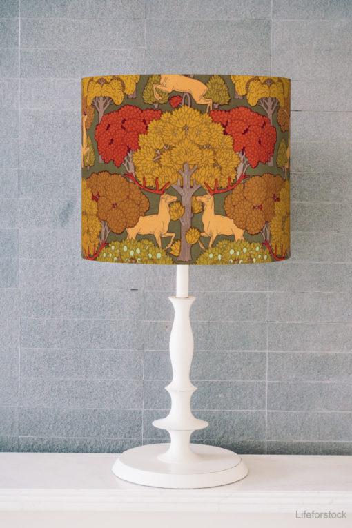 abażur w stylu art deco do lampy stołowej cylinder jelenie i drzewa