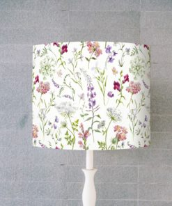 abazur biały w kwiaty na lampę stołową walec