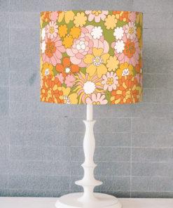 abażur retro kwiaty na lampe stołowa walec