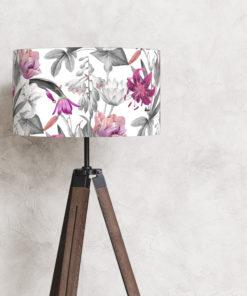 abażur do lampy stojącej biały w kwiaty kształt cylindra